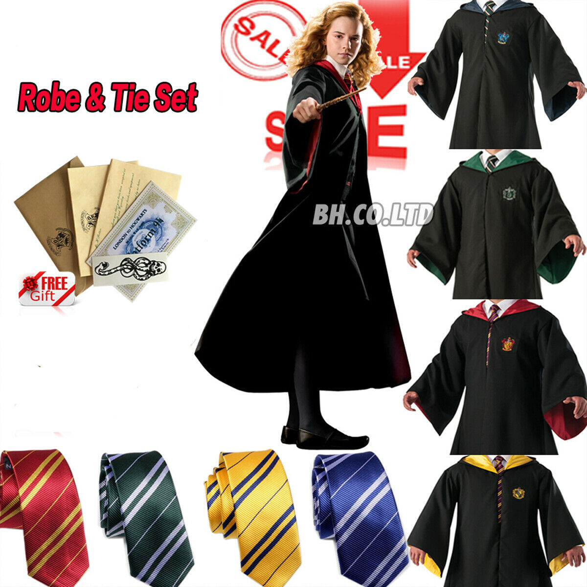 Harry Potter Robe+Schal+Krawatte Uniform Komplett Karneval kostüm Cosplay DE
