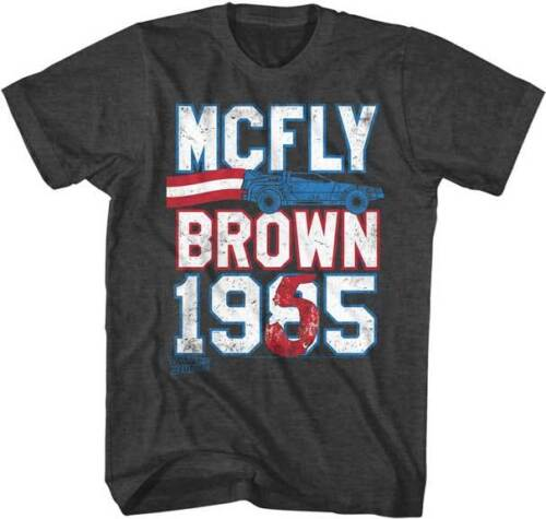 Back To The Future Movie Red White /& Blue McFly Brown Adult T Shirt