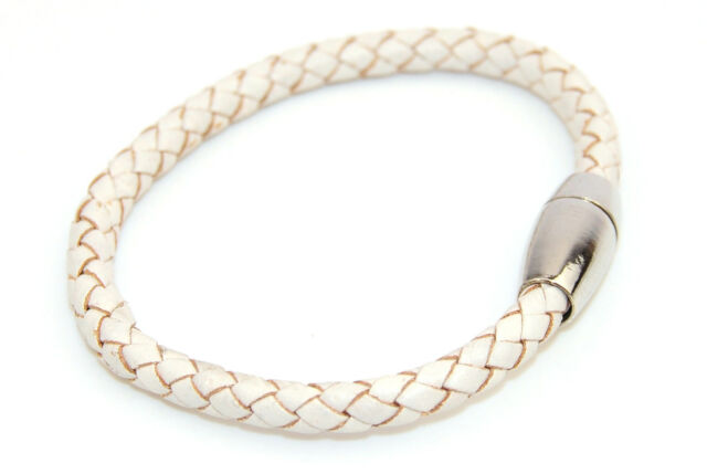 Plaited Leather Bracelet with Magnetic Clasp 6mm