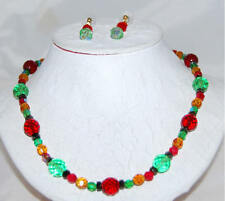Red Green Pink & Black Crystal + Aurora Borealis Beads Necklace & Drop Earrings