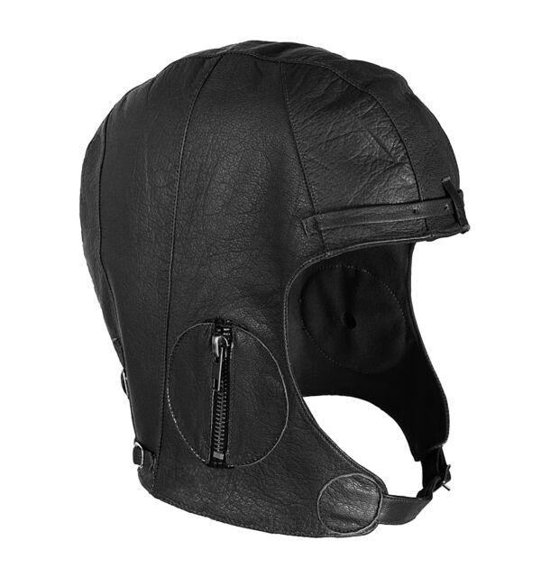 b6ed5a49e773a3 BLACK Rothco Leather Aviator Pilot Motorcycle Cap Vintage WWII Style Hat  XL/2XL