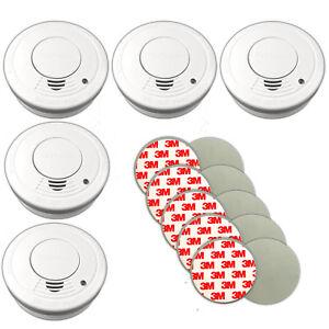 5x-Rauchmelder-mit-Magnethalter-Feueralarm-Rauchalarm-Feuermelder-Klebepad