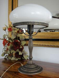 Tischlampe Pilz Lampe Jugendstil Antik Bankerlampe Schreibtischlampe Messing NEU