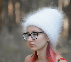 New-Winter-White-Hand-Knitted-cashmere-Mohair-Hat-Fuzzy-Thick-Cap-Beanie-S-M-L
