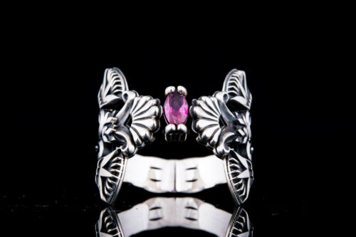 Egyptian Jewelry 925 Silver Egyptian Lotus Ring with Pink Cubic Zirconium