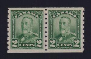 Canada Sc #161 (1929) 2c green King George V Scroll Coil Pair Mint XF NH MNH