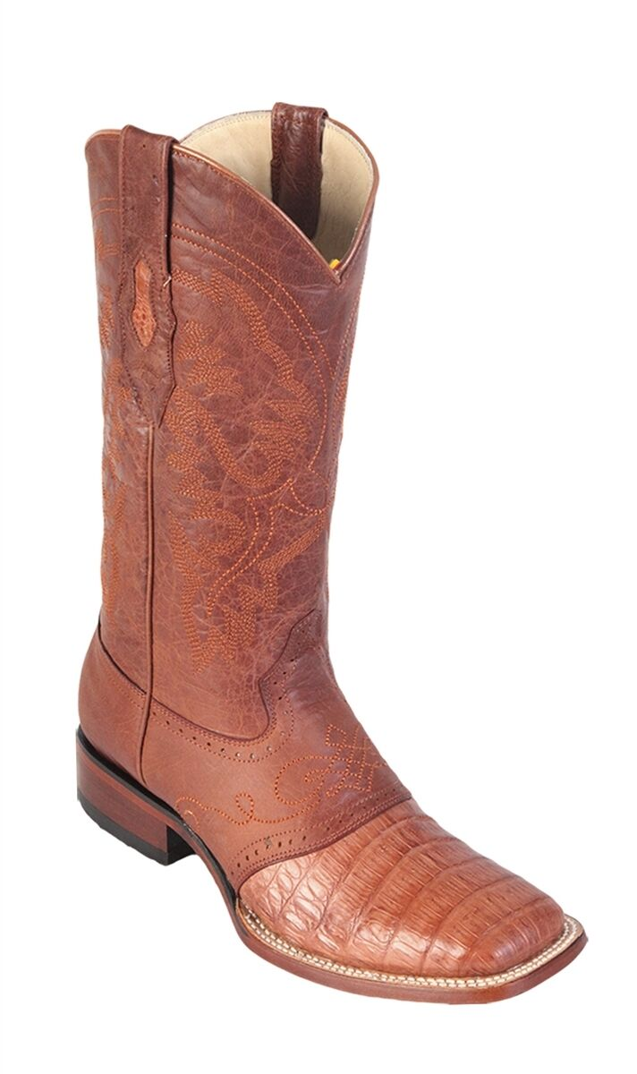LOS ALTOS COGNAC GENUINE CROCODILE SQUARE TOE WESTERN COWBOY BOOT (EE)