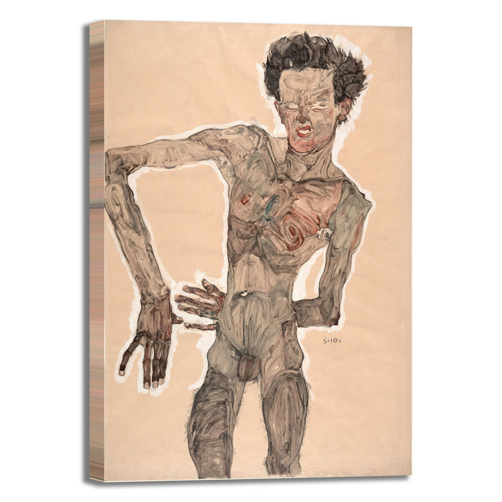 Schiele autoritratto nudo 2 design quadro stampa tela telaio dipinto telaio tela arRouge o casa 00867a