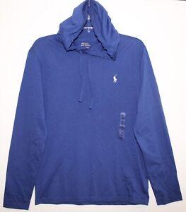 Polo-Ralph-Lauren-Mens-Blue-Hoodie-L-S-Cotton-T-Shirt-NWT-Size-S