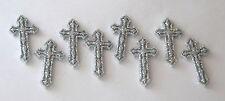 Silver Glitter Cross Shape Flat Back Buttons / Jesse James Dress It Up ~ Spring