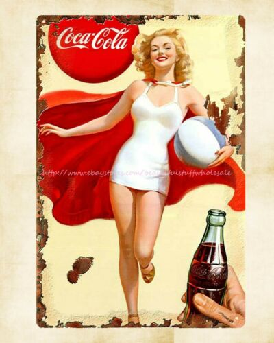 design wall decoration Marilyn Monroe coca cola girl metal sign