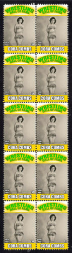 CORA COMBS WRESTLING HALL OF FAME INDUCTEE STRIP OF 10 MINT STAMPS