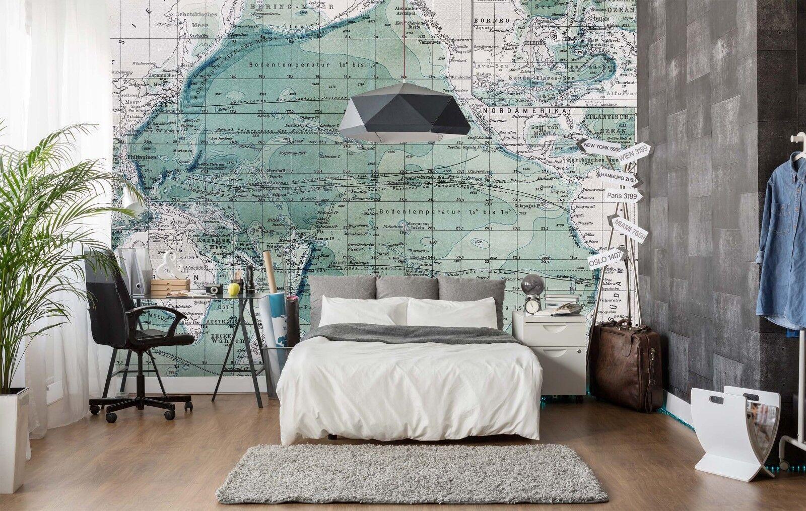 3D Green Map 859 Wallpaper Mural Paper Wall Print Indoor Murals CA Summer