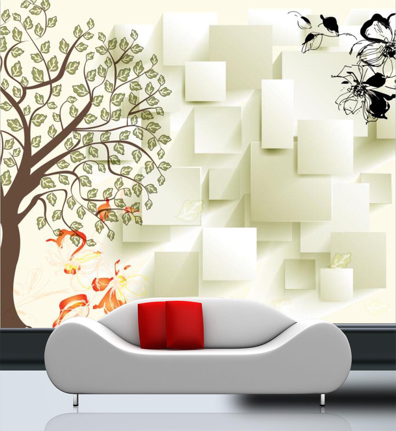 3D Simple Tree Flowers 102 Wall Paper Wall Print Decal Wall AJ WALLPAPER CA