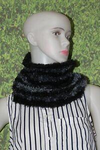 Black-Gray-Stripe-Stretch-Fluffy-Infinity-Muffler-Scarf-Headwear