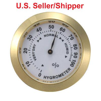 Analog Hygrometer Humidity Gauge 1.46 In. Dia Metal Bezel, Gold Volume Groot
