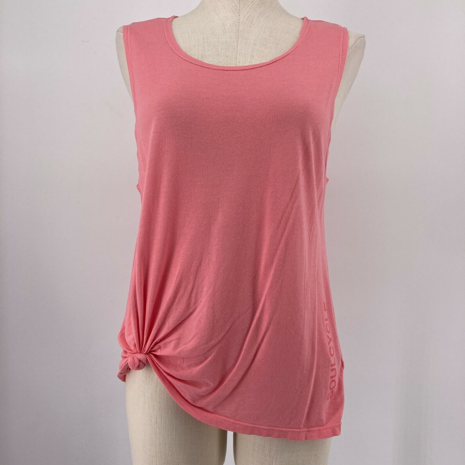 SoulCycle Womens Top Sleeveless Tank Pink Tie Front D.C. Size Medium