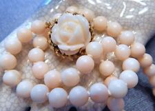Vintage Angel Skin Coral Bead Necklace Heavy Solid 18k Gold Carved Flower Clasp