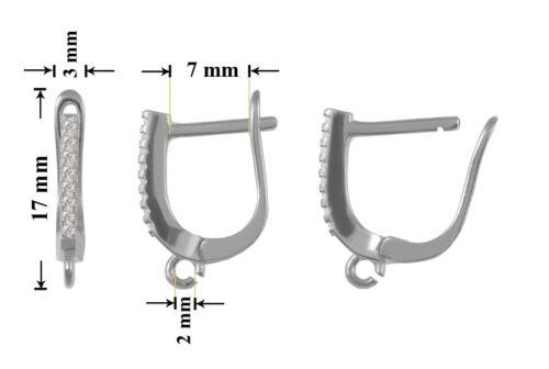 Überzüge Sterling Silber 925 Sicherheit Ohrhaken 17x3mm Wählen versch