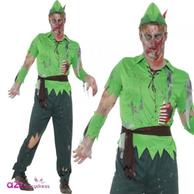 Good Mens Zombie Lost Boy Adult Fairytale Peter Undead Halloween Fancy Dress  Costume