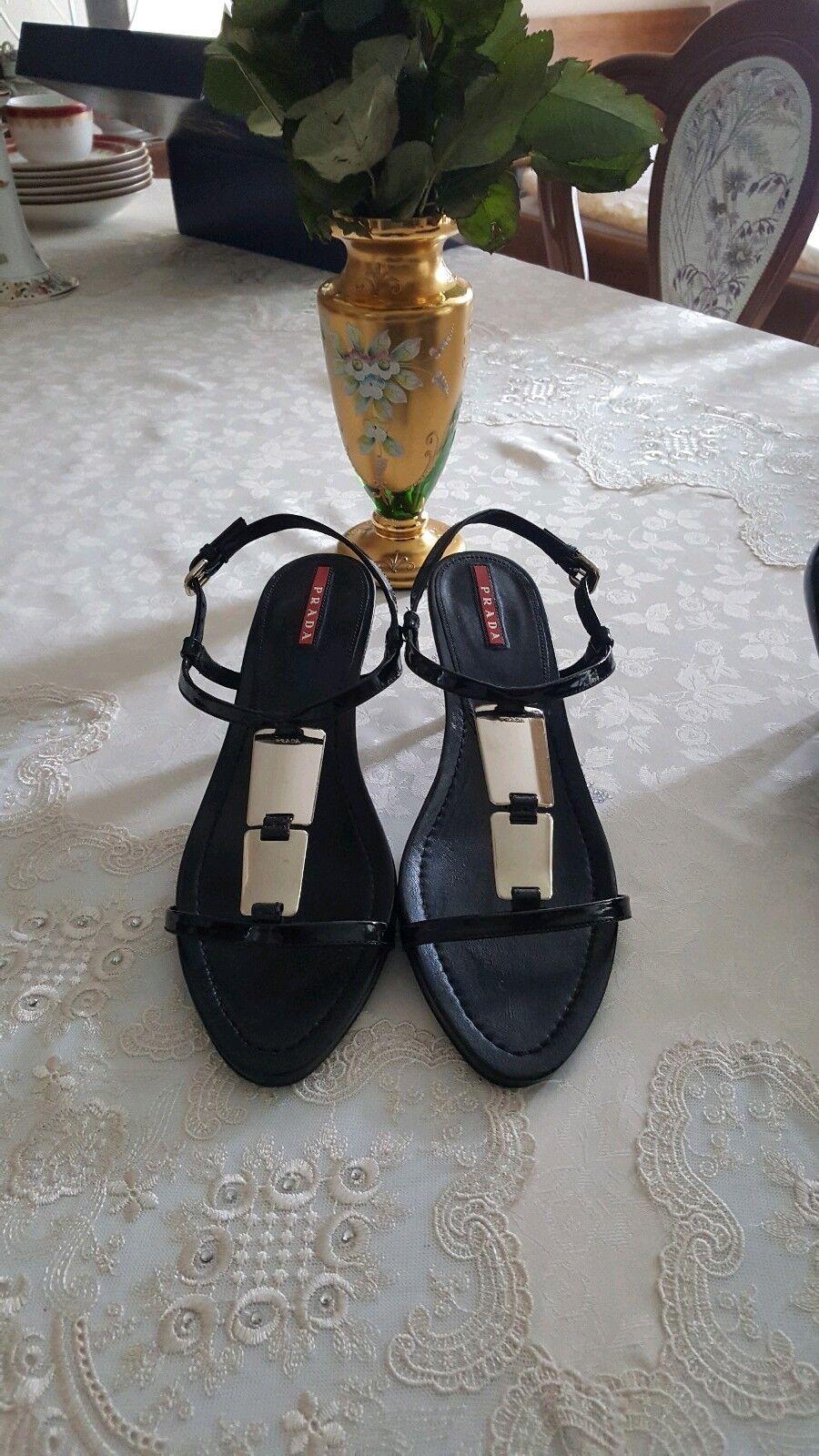 Prada Damen in Sandalen/Schuhe, 39, schwarz, made in Damen  5eef07