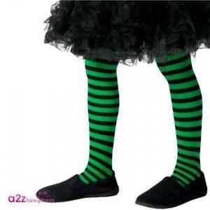 262b2ff462854 Girls Wicked Witch Green & Black Tights Kids Halloween Fancy Dress ...