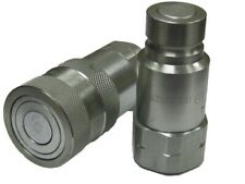 12 Npt Skid Steer Bobcat Flat Face Hydraulic Quick Connect Coupler Coupling Set