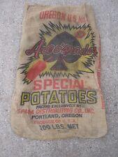 Vintage Ace O Spades Special Potatoes Spada Distribu Portland Oregon burlap sack