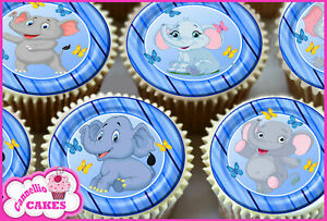 24 Personalised Elephant Design In Blue Edible Rice Paper Cup Cake Toppers Decorations Cake Toppers Tipidkorpolri Cake Toppers