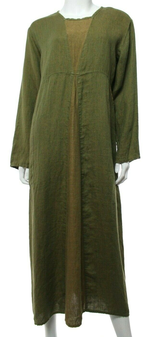 Flax Women's S Small Green Tan Linen Maxi Dress Lagenlook Artsy Long Sleeve EUC