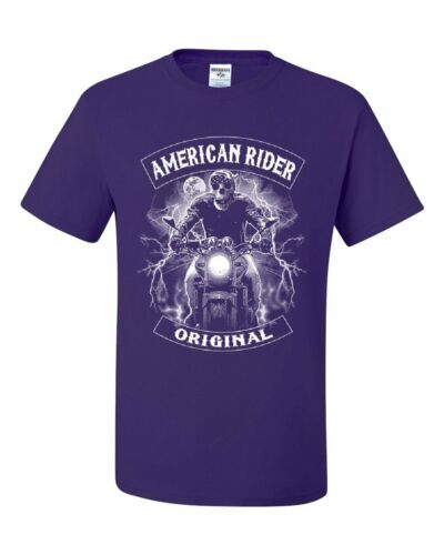 Original American Rider T-Shirt Skull Face Route 66 Biker MC Tee Shirt