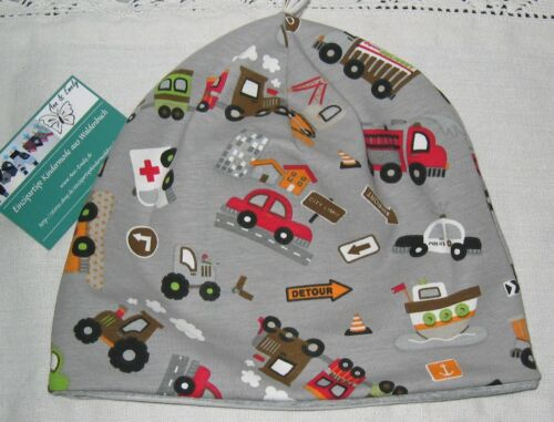 NEU Beanie Mütze 48 50 52 54 Fahrzeuge Lastwagen Traktor Jerseymütze Jungen