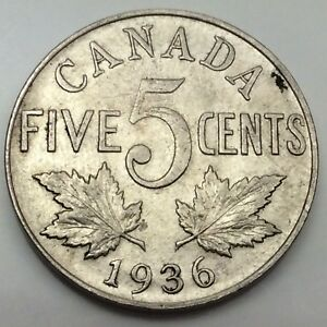 1936-Near-Rim-Canada-Large-5-Five-Cents-Nickel-Circulated-Canadian-Coin-D434