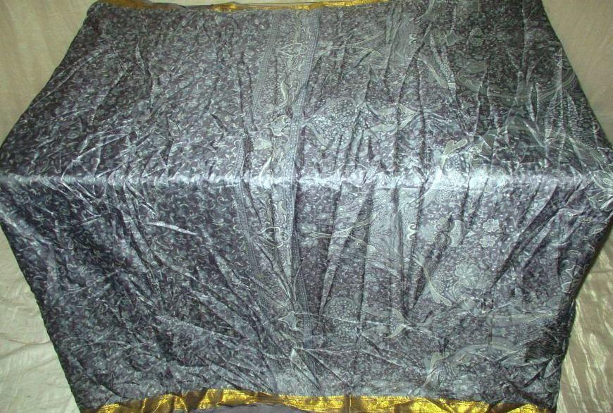 WEARABLE SILK BLEND ANTIQUE VINTAGE SARI SAREE 5 YD A35 352 Grey #ABI5T