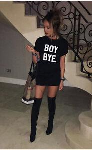 Women-Ladies-Black-BOY-BYE-Turn-Up-Short-Sleeve-T-Shirt-Top-Dress-UK-8-16