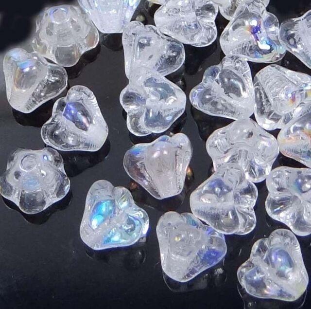 50 Czech Glass Baby Bell Flower Beads - Crystal AB 6x4mm