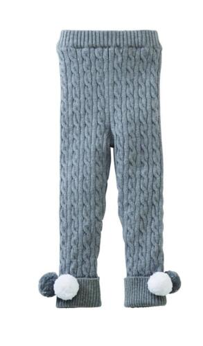 Gray Color Mud Pie Kids Cable Knit Leggings Pants with Pom Poms