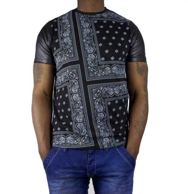 Time is Money star-zip bandana t shirts, pu leather tees g paisley rap hip hop