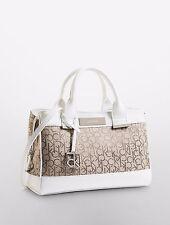 Calvin Klein Logo Jacquard City Center Zip Carryall Bag Natural With White