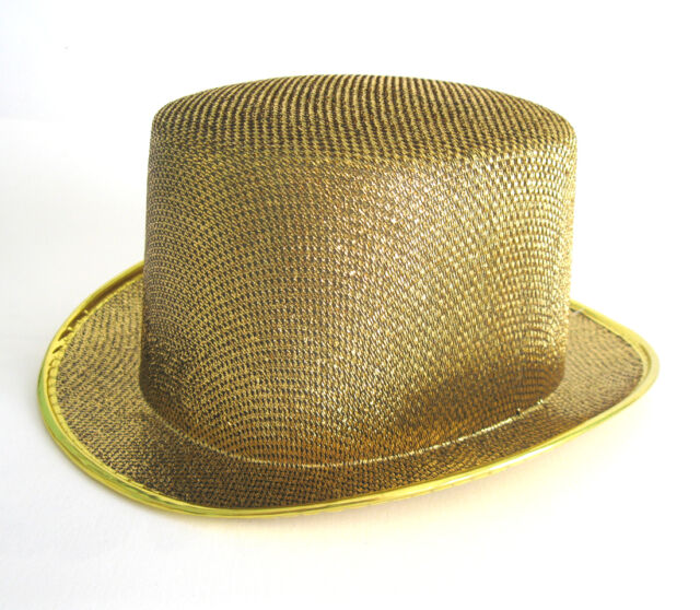 0b75097039b72a Deluxe Gold Glitter Top Hat Sexy Columbia Cap Adult Halloween Costume Hat