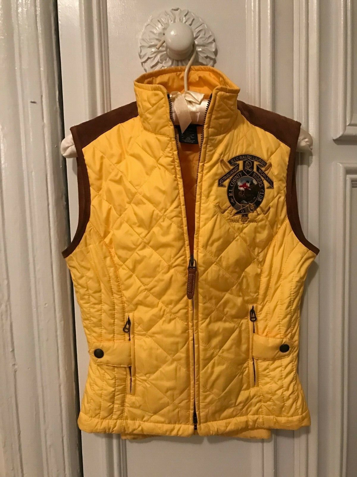 Ralph Lauren bluee Label Quilted Vest, Yellow with Tan Suede Trim, Size Small