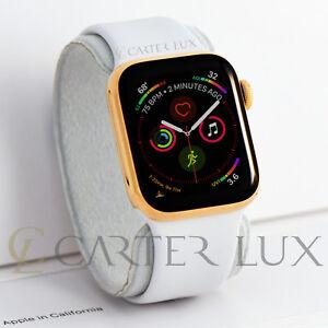 44mm Apple Watch Series 5 Stainless Steel Custom 24k Gold Plated White Sport Ebay