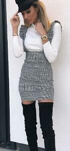 Womens Ladies Hound Dog Tooth Tartan Check Pinafore Strap Frill Party Mini Dress