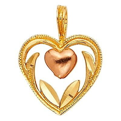 Pluffy Heart Love Frame Charm 14k 2 Tone Italian Solid Gold Flawless Pendant