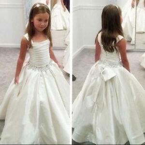 9705b80d32f8 White Holy First Communion Dress Little Flower Girls Kids Pageant ...