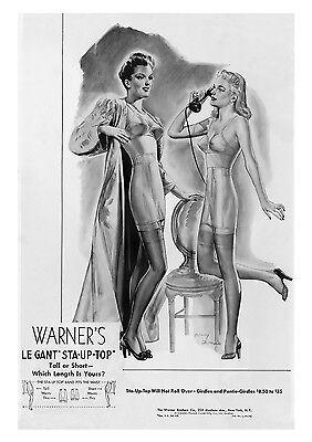 Advert Art Poster Vintage 1943 Lingerie Warners LE GANT Ad Retro re-print