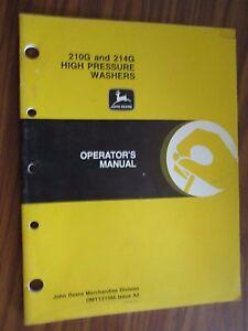 JOHN DEERE 210G & 214G HIGH PRESSURE WASHER OPERATORS MANUAL