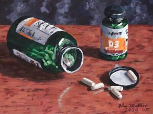 Original-Still-Life-Painting-of-Vitamin-C-Pills-9-x-12-inch-by-John-Wallie