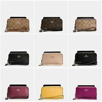 New Coach F53896 F53937 Double Zip Phone Wallet Signature Leather Wristlet NWT