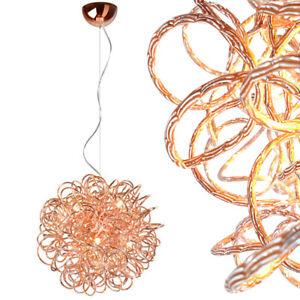 Haengelampe-Kupfer-Pendelleuchte-Kugel-Lampe-Schlafzimmer-Deckenlampe-Rosegold